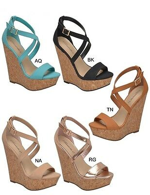 Women Open Toe Criss Cross Mary Jane Ankle Strap Wedge Platform Heel Pump Sandal ()