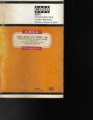 Case 580c Construction King Loader Backhoe Operators Manual