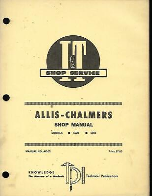 It Shop Service Manual For Allis Chalmers 5020 And 5030 Tractors