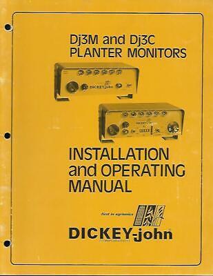 Dickey John Dj3m And Dj3c Planter Monitors Installation And Operating Manual