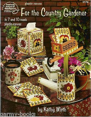 For The Country Gardener Kathy Wirth Plastic Canvas Patterns Coasters Tissue NEW