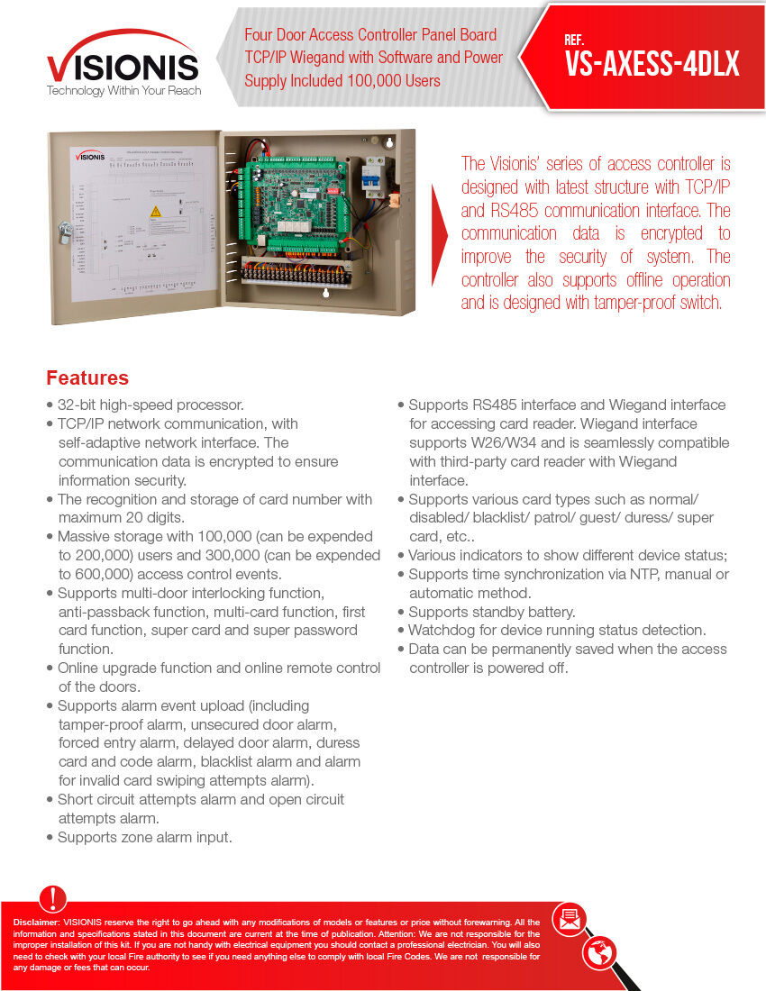 Visionis Vs Axess 4dlx Four Door Network Access Control Panel Honeywell Op10hons Controller Tcp Ip