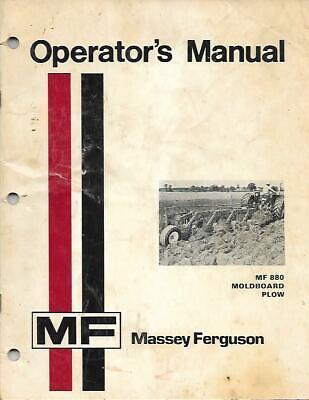 Massey Ferguson Mf 880 Moldboard Plow Operators Manual