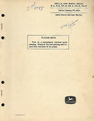 John Deere B-ab-bdf-bdr-adr-bfb-b End Wheel Grain Drills Parts Catalog