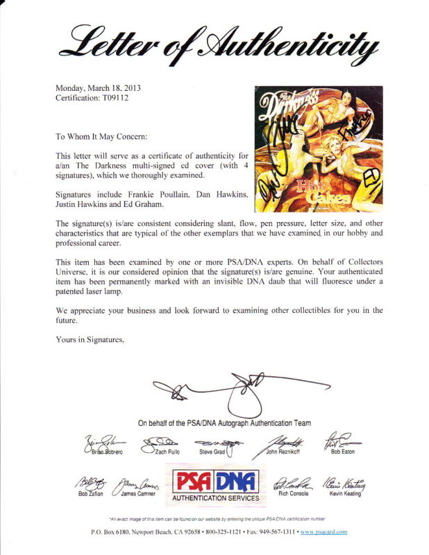 The Darkness HOT CAKES signed autographed NEW CD cover PSA DNA Justin Hawkins