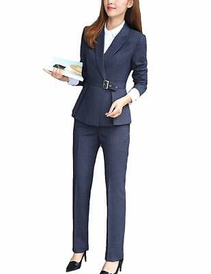 Belted Blazer - MFrannie Women Notch Lapel Stripe Belted Blazer and Pants Suit Set