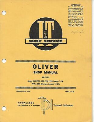 It Shop Service Oliver Series Super 99gmtc-950-990-995 770 880 Changes Shop