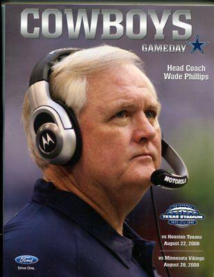 2008 Dallas Cowboys vs Houston Texans Wade Phillips Program 8/22/08 46945 PFB2