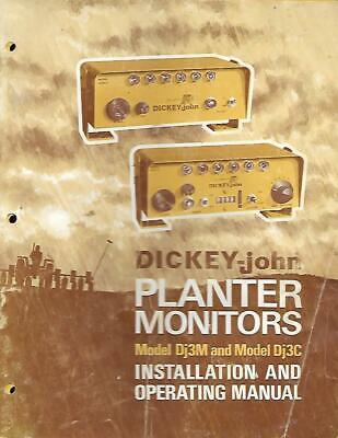 Dickey John Planter Monitors Model Dj3m And Model Dj3c Operators And Instal