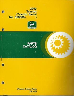 John Deere 2240 Tractor Parts Catalog Very Good