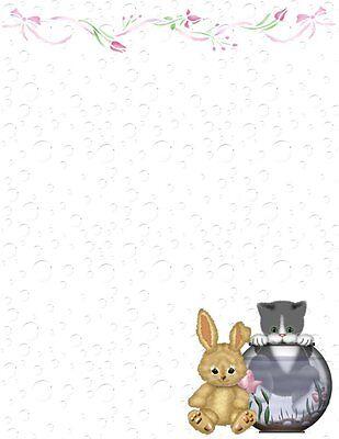 Children's Rabbit & Cat Stationery Printer Paper 26 Sheets](Children's Stationery)
