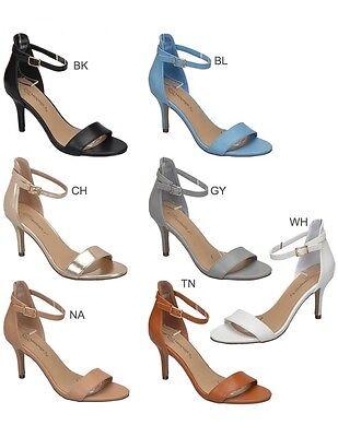 New Womens Open Toe Ankle Strap Single Sole Stiletto Med Low Heel Sandal Pump US Pump Medium Heel Ankle Strap