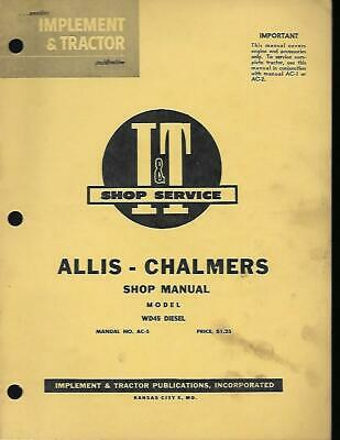 Allis Chalmers It Shop Manual Wd 45 Diesel Engine Only