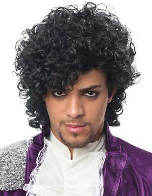 POP SINGER ARTIST MUSICIAN PRINCE COSTUME WIG BLACK JHERI CURLS MALE FORMERLY - Musician Prince Halloween Costumes