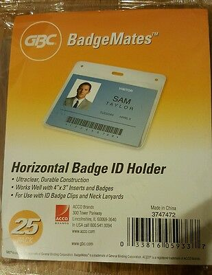 Gbc Badgemates Horizontal Id Badge Holder 4 X 3 Inches Clear 25 Holders Per