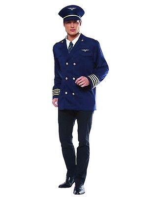 Herren Fluglinienpilot Kostüm Kapitän Aviator Anzug Uniform Erwachsene Outfit