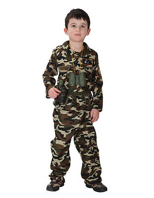 KIDS SOLDIER COSTUME BOYS ARMY COMMANDO RAMBO FANCY DRESS PA