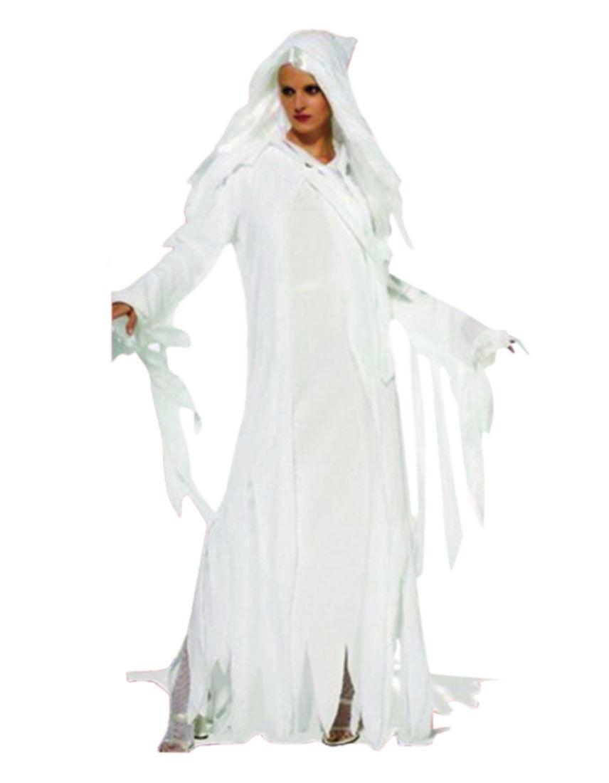 Adult Ladies Halloween White Ghost Spirit Hooded Robe ... White Kimono Ghost