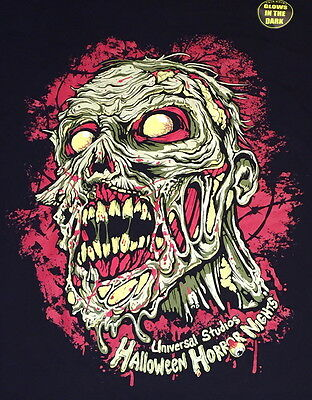 Universal Studios HALLOWEEN HORROR NIGHTS 2015 ZOMBIE Glow in Dark T-SHIRT SMALL