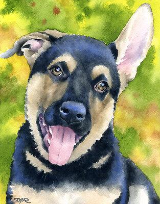 German Shepherd Puppy Art Print Sepia Watercolor Painting by DJR