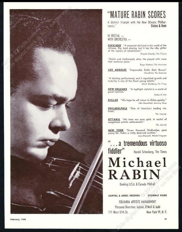 1960 Michael Rabin photo USA violin recital tour booking trade print ad