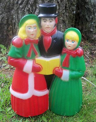 "Vintage Christmas Carolers Snow Blow Mold 1980 Empire Yard Decor People 18"""