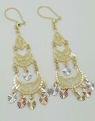 14k Yellow Gold Gypsy Drop/Dangle Chandelier Filigree Earrings 65 MM Long