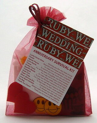 Fun Anniversary Ideas (Ruby 40th Wedding Anniversary SURVIVAL KIT Novelty Gift Idea Fun)