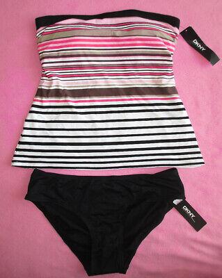 DKNY Tankini Set A-Line Striped Bandeau Tie Back Swimsuit Top  Bottom Set S Nwd