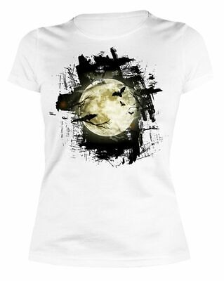 Halloween T-Shirt - Vollmond - Damen Shirt weiß - Halloween Vollmond