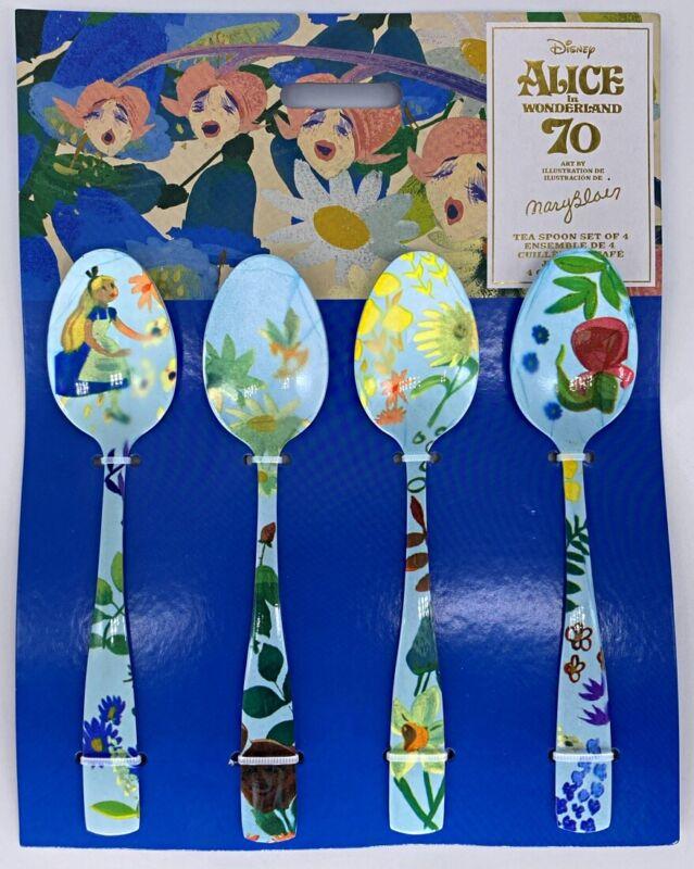 Disney Parks Alice in Wonderland 70th Anniversary Tea Spoon Set of 4 Mary Blair