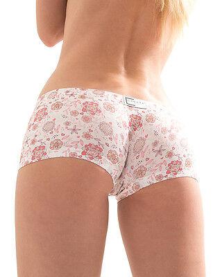 "CROOTA Womens Boyshort Underwear Seamless Low Rise Panty, Floral, S (Hip 30-33"")"