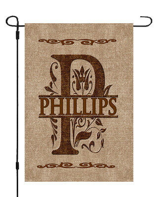 Personalized Monogram Burlap Style Garden Banner Flag 11x14-12x18 Custom Name ()
