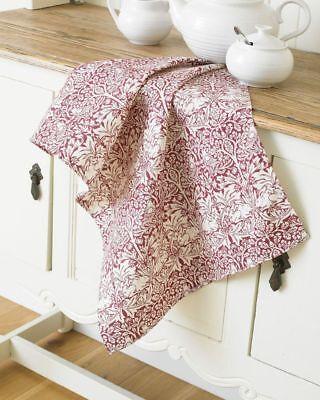 William Morris Brother Rabbit Red Cotton Floral Tea Towel