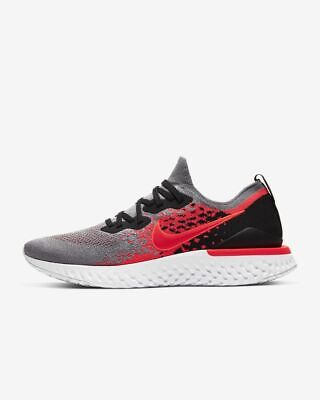 Nike Epic React Flyknit 2 Trainers in Cool Grey & Crimson UK Size 9 - Brand New