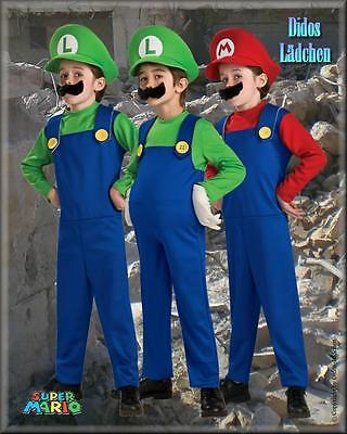 Super Mario Kinder Original Lizenz Kostüm Luigi,Mario S.M.L (104-140)