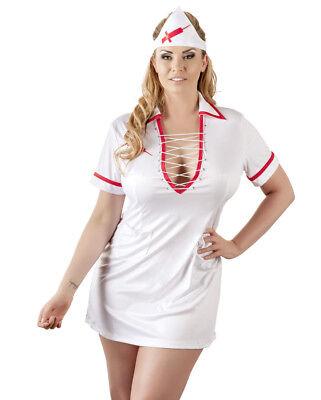 Rot Weiß Kleid Kostüm (Plus Size Krankenschwester Kostüm Weiß/Rot Nurse Set Minikleid Verkleidung  4 XL)