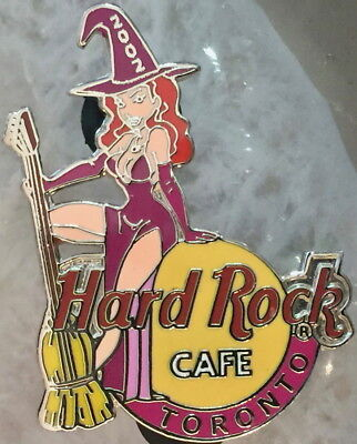 Hard Rock Cafe TORONTO 2002 HALLOWEEN PIN Sexy Witch Girl Broom Guitar HR - Halloween Toronto