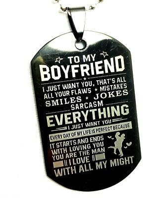 BoyFriend Gift  Couples Stainless Steel pendant necklace Dog Tag Valentine's Day ()