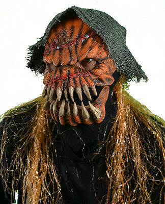 Evil Scary Great Pumpkin Scarecrow Moving Mouth Adult Halloween Costume Mask (Evil Pumpkin Halloween Costume)