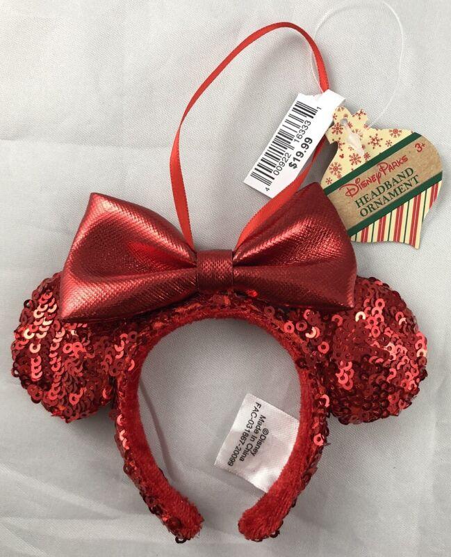 Disney Parks Redd Red Bow Minnie Mouse Ears Headband Ornament Xmas Holiday - NEW
