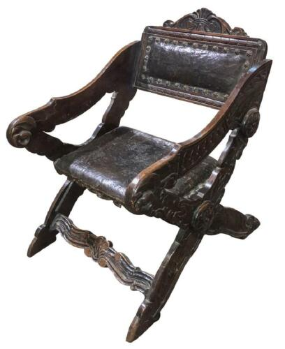 Chair, Gondola Style Italian Walnut, Handsome  and Comfortable Vintage / Antique