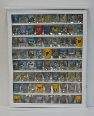 72 Shot Glass Shooter Display Case Rack Wall Curio Cabinet Shadow Box, SC13-WHI