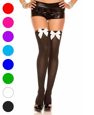 Opaque Thigh High Stockings With Satin Bow - Music Legs 4742