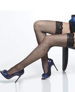 Plus Size Lace Top Fishnet Thigh High Stockings - Black - Coquette 1732X