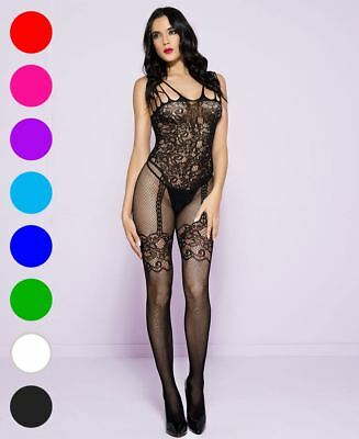 Bodystocking With Faux Garter And Stockings - Music Legs 1783](Stockings And Garters)