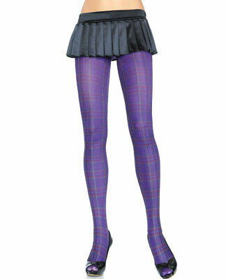 New Leg Avenue 7726 Opaque Paper Print Plaid Tights Pantyhose Avenue Opaque Tights