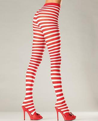 White And Red Striped Pantyhose Tights - Be Wicked BW517WR - Red White Stripe Tights