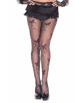 Butterfly With Leaves Design Pantyhose - Music Legs - Pantyhose With Designs