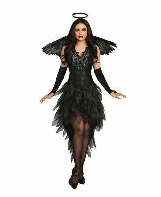 Gothic Angel Halloween Costume (Dreamgirl Angel of Darkness Sexy Goth Dress Adult Womens Halloween Costume)